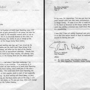 Elaine Redfield letter to Henry Segerstrom