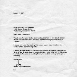 Henry Segerstrom response to Elaine Redfield
