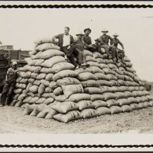 Segerstrom farmers rest on large sacks of lima beans at the family farm