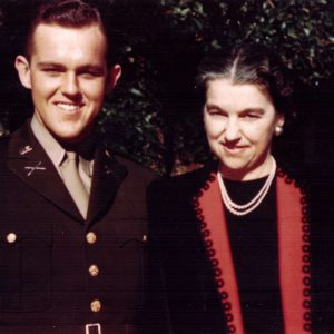 Henry Segerstrom pictured in uniform with his mother, Nellie Ruth Segerstrom, c. 1942.
