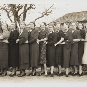 The Segerstrom women pose at Thanksgiving in Santa Ana, 1936.
