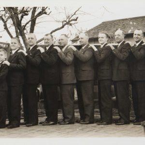 The Segerstrom men pose at Thanksgiving in Santa Ana, 1936.