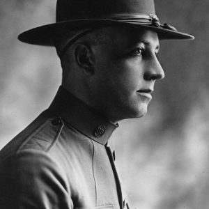 A portrait of Henry Segerstrom's father, Anton Segerstrom, posed in military uniform during WWI